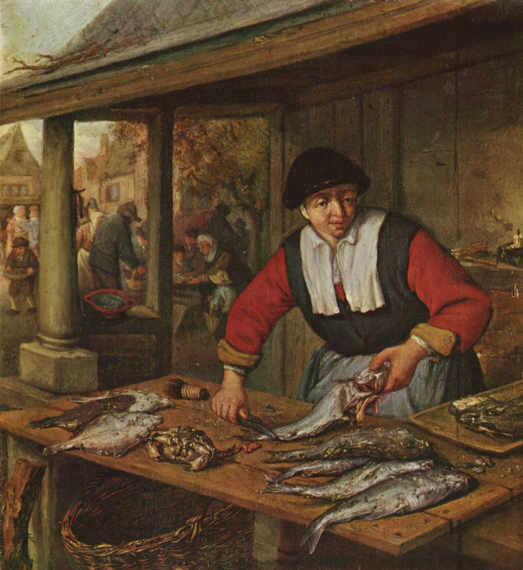 Adrian Jans van Ostade. The saleswoman of fish