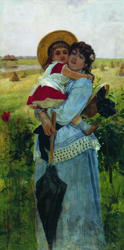 Константин Аполлонович Савицкий. Портрет жены художника с сыном Георгием