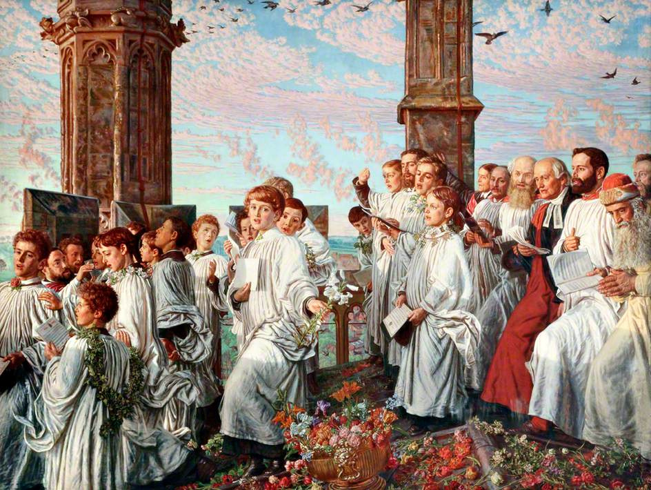 William Holman Hunt. The welcoming ceremony of the month of may, in Magdalen College, Oxford II