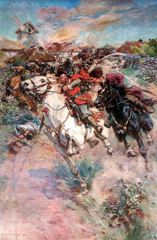 Nikolay Semenovich Samokish. Fight Ivan Bohun with Prince Stefan Czarnecki under the Monastery in 1653