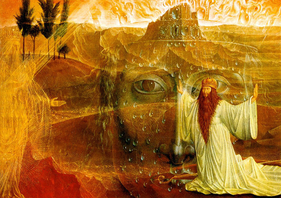 Ernst Fuchs. Moses and the burning Bush