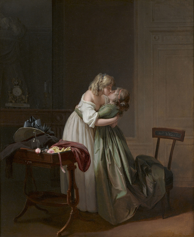 Two Young Women Kissing