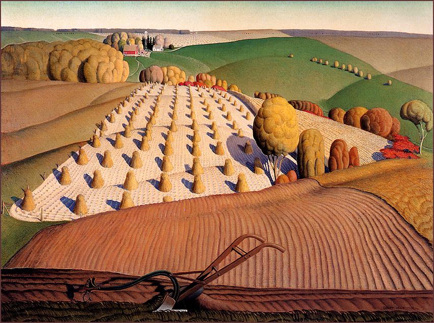 Grant Wood. Autumn. Plowed field