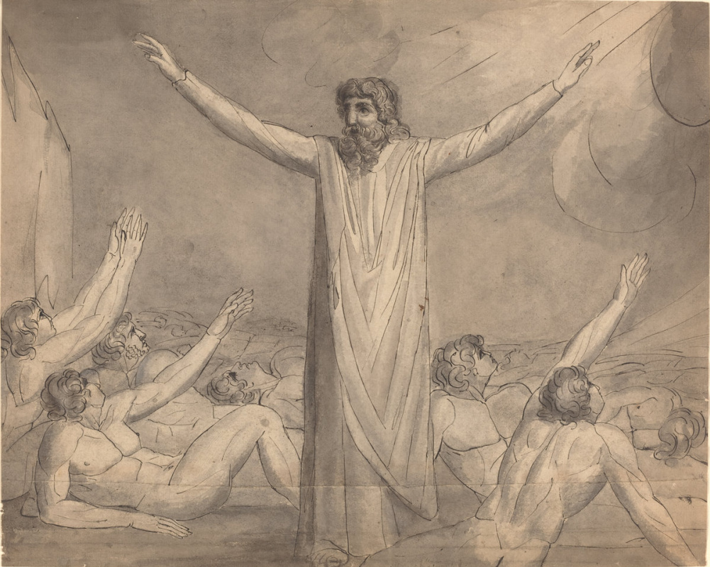 William Blake. Moses stops the plague