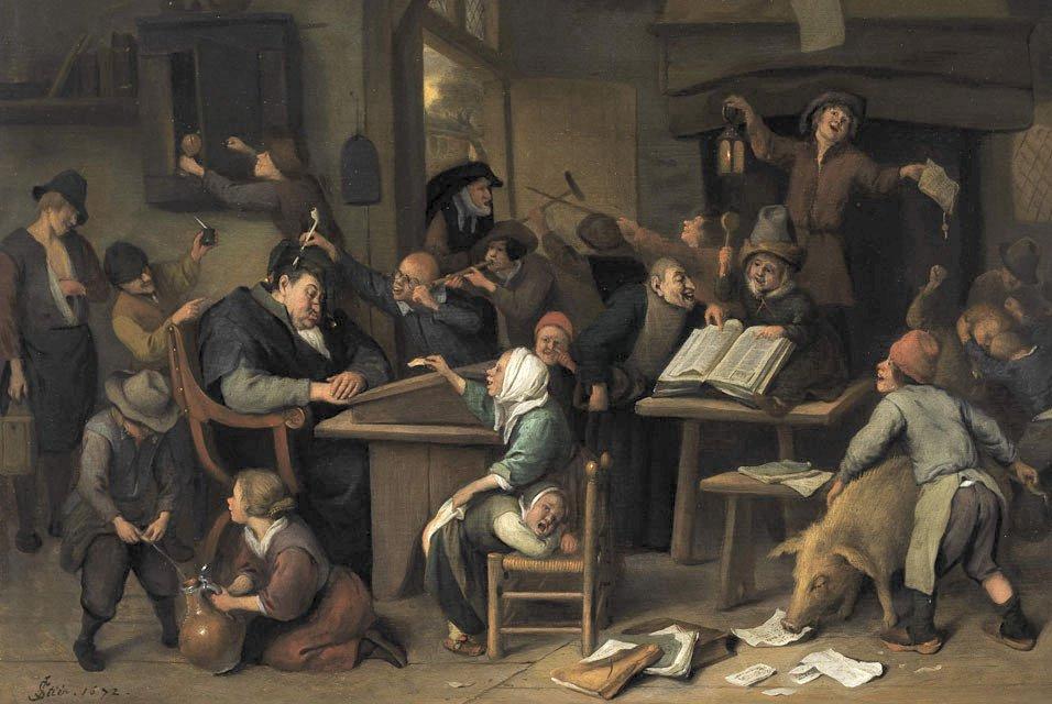 Ян Стен. Школьный класс со спящим учителем