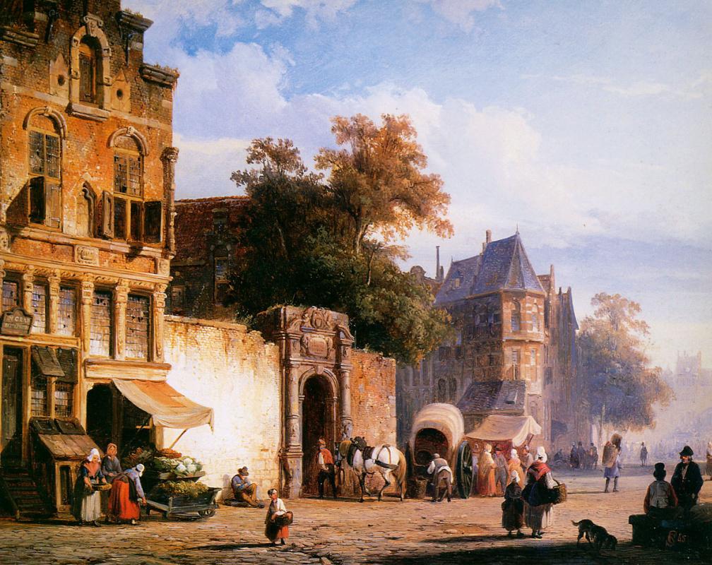 Cornelis Springer. Market stalls