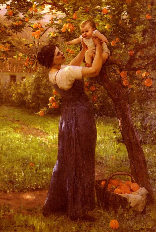 Ипполит Камиль Дельпи. Мать с ребенком  в саду
