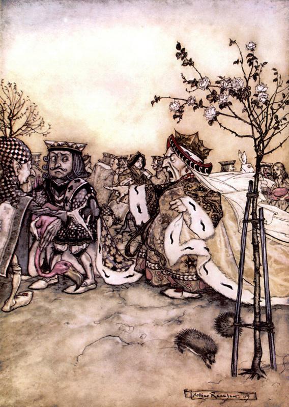 """Артур Рэкхэм. Приказ королевы. Иллюстрация к сказке """"Алиса в Стране чудес"""""""
