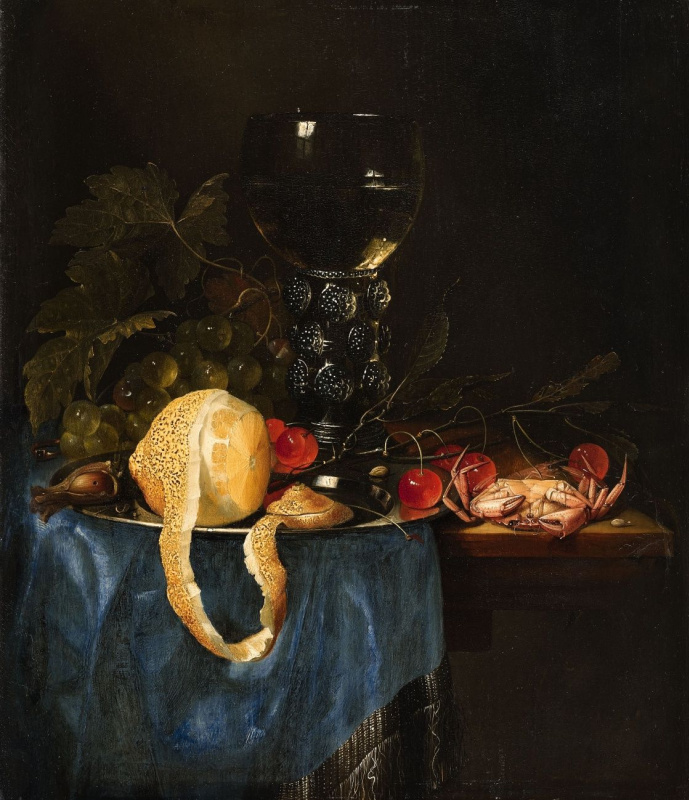 Натюрморт с лимоном, виноградом, вишнями и моллюсками