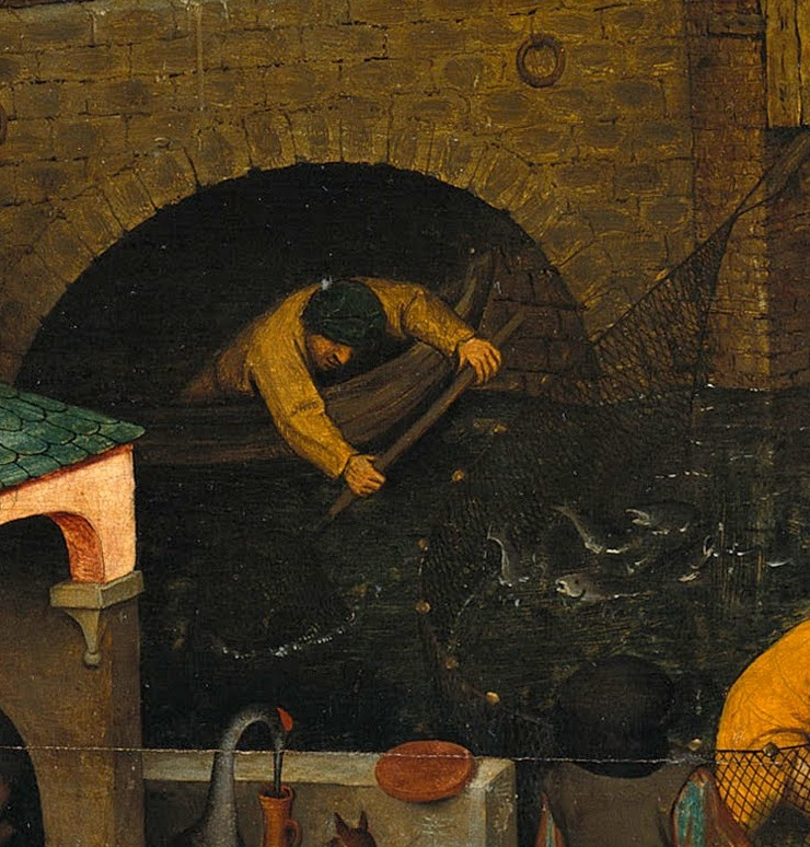 Pieter Bruegel The Elder. Flemish proverbs. Fragment: Fishing past the net - miss the opportunity