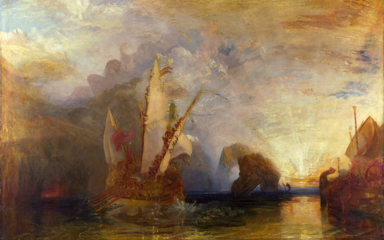 Joseph Mallord William Turner. Ulysses taunts Polyphemos