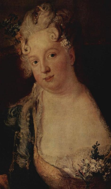 Антон Пезне. Портрет барона фон Эрлаха с семьей, фрагмент: баронесса
