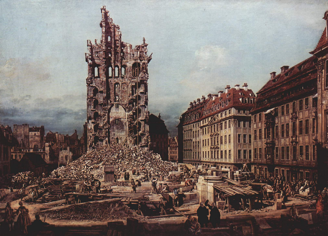 Giovanni Antonio Canal (Canaletto). View of Dresden, the ruins of the Church of the Holy cross, view from the East