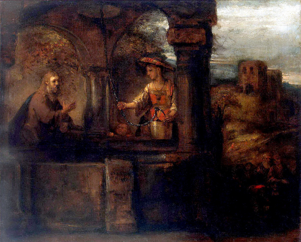 Рембрандт Ван Рейн. Беседа Христа с самарянкой