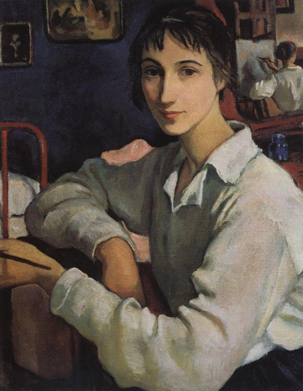 Зинаида Евгеньевна Серебрякова. Автопортрет в белой кофточке