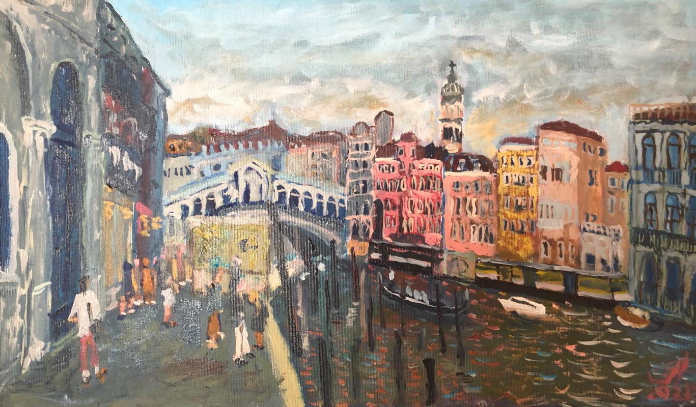 Sergey Vladimirovich Sebini. Venice in the evening. Rialto bridge