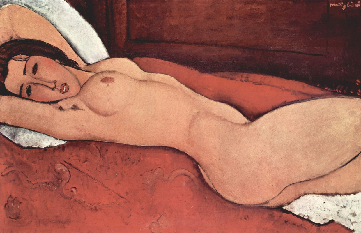 Amedeo Modigliani. Reclining Nude with crossed behind the head with hands