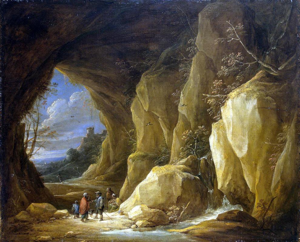 Давид Тенирс Младший. Пейзаж с гротом и группой цыган