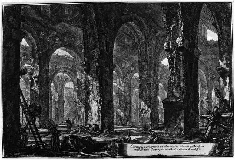 Giovanni Battista Piranesi. View of the baths in the castle of Castelgandolfo