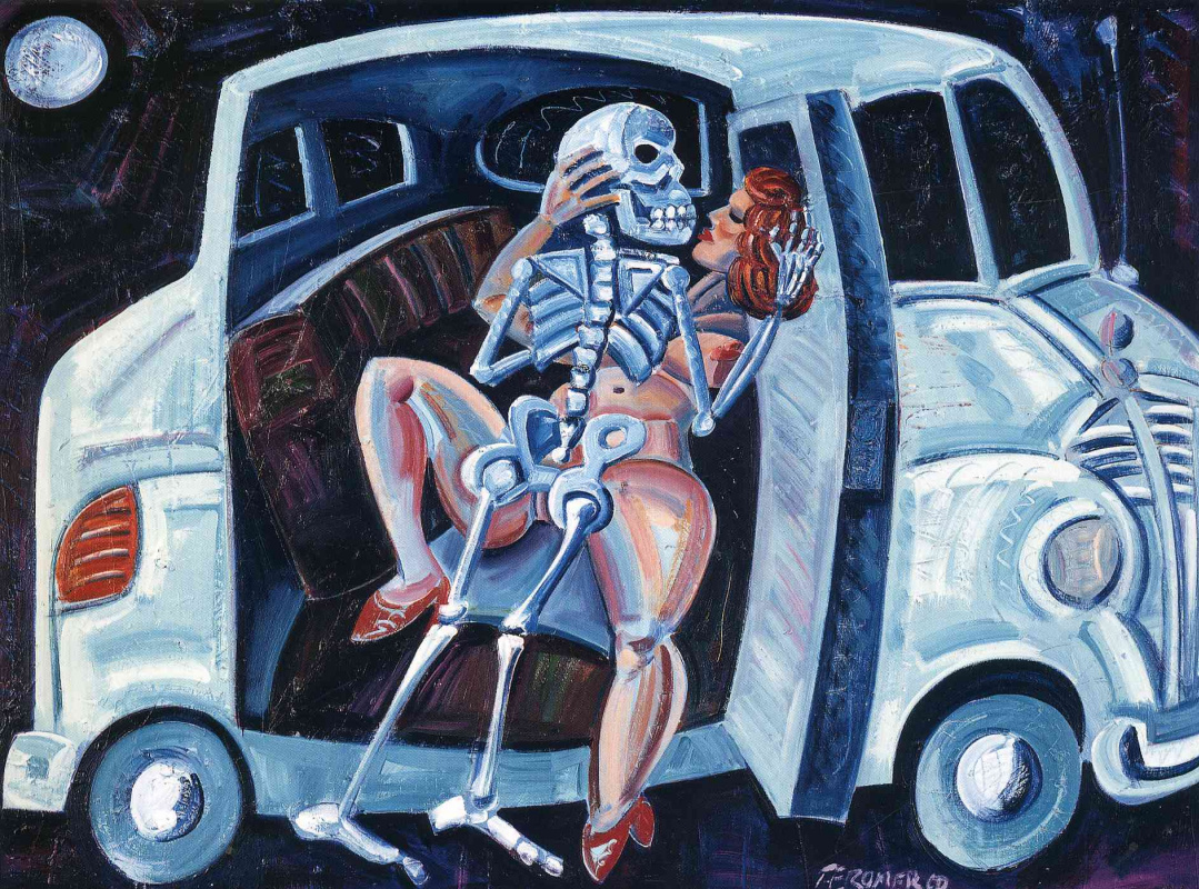Chich Marin. The woman with the skeleton in the car