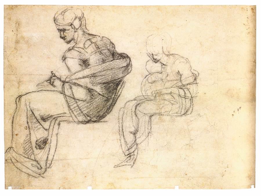 Michelangelo Buonarroti. Two seated figures