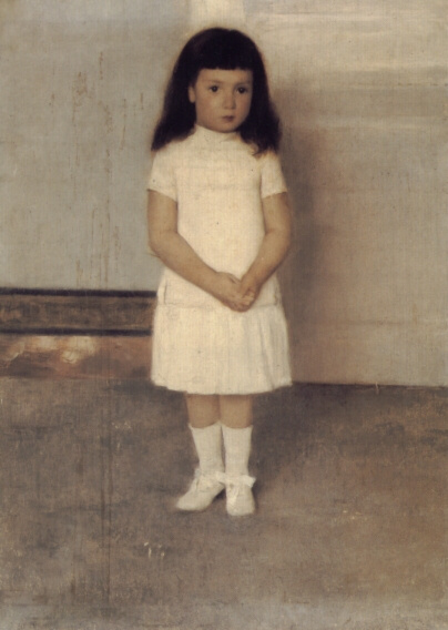 Fernand Khnopff. Portrait of a standing girl in white