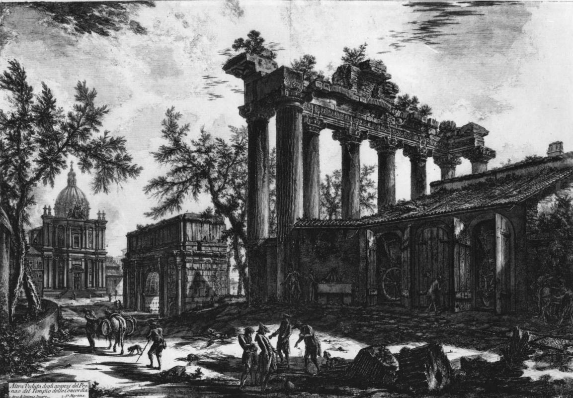 Джованни Баттиста Пиранези. Вид храма Сатурна и Триумфальной арки Септимия Севера на Римском форуме