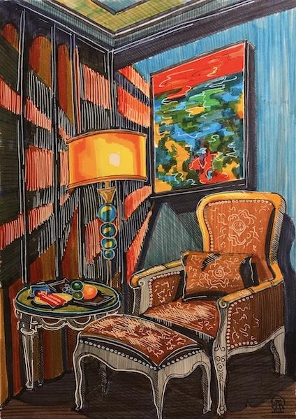 Larissa Lukaneva. Phu Quoc. Hotel number. Sketch.
