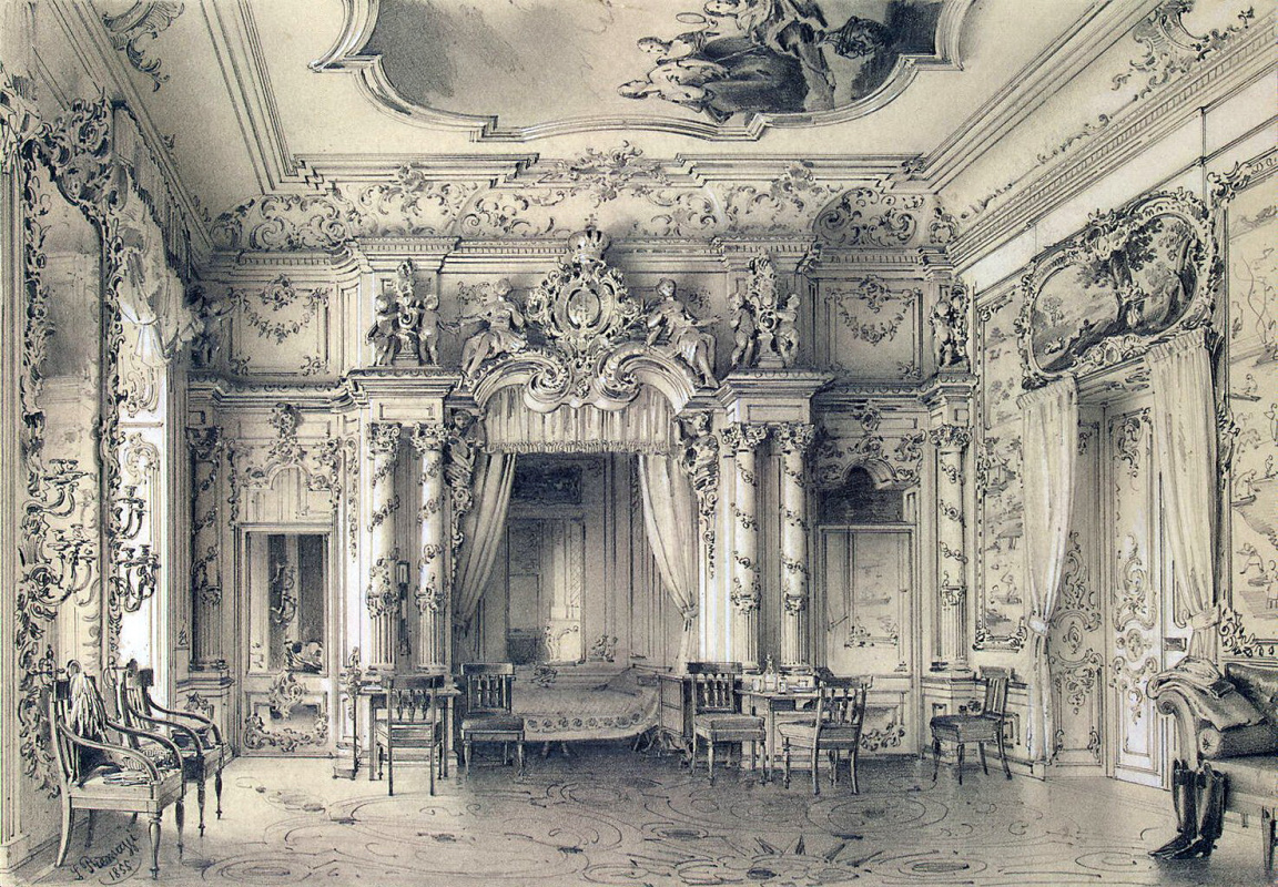 Luigi Premazzi. Bedroom in the Great Tsarskoye Selo Palace