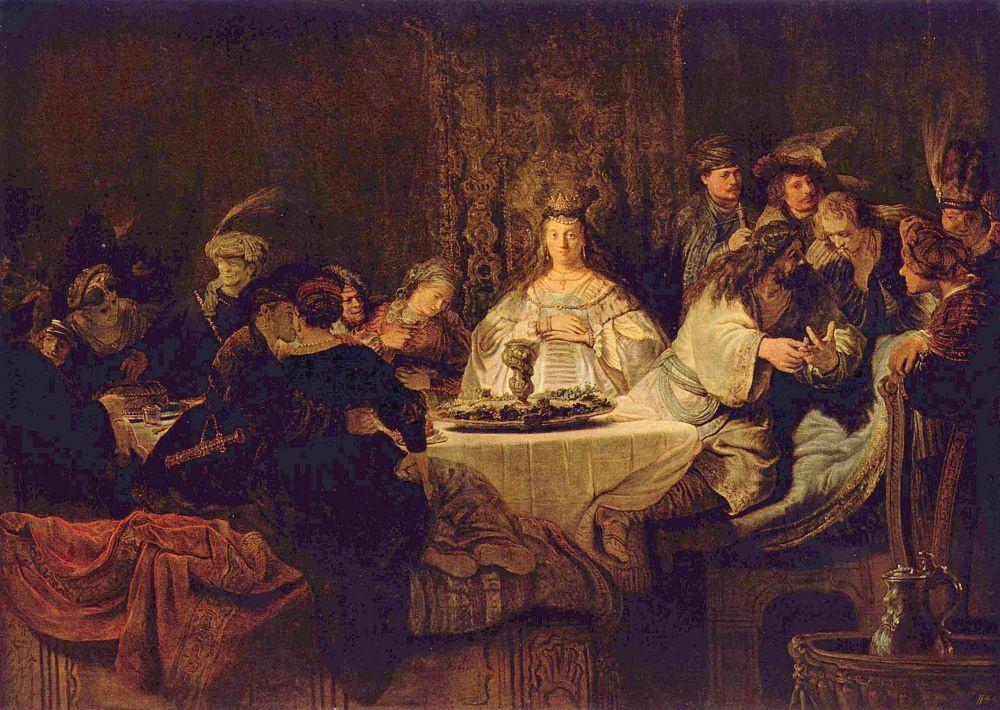 Рембрандт Ван Рейн. Самсон, загадывающий загадку за свадебным столом