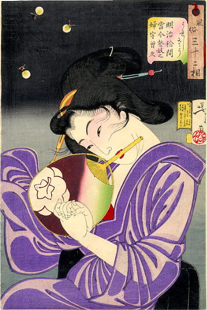 "Tsukioka Yoshitoshi. Geisha of the Meiji period. Series ""32 the feminine face of everyday life"""