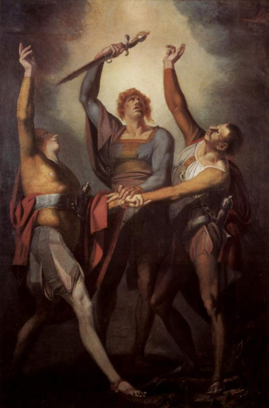 Иоганн Генрих Фюссли. Три швейцарца дают клятву на горе Рютли