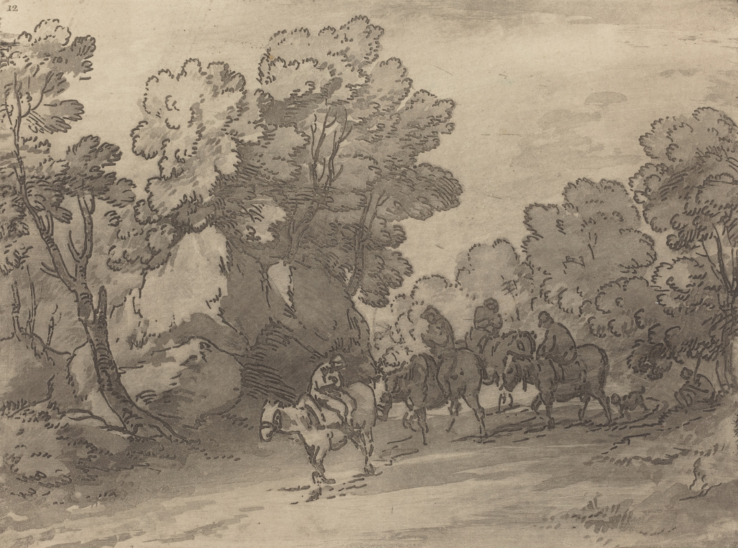 Thomas Gainsborough. Forest landscape with travelers