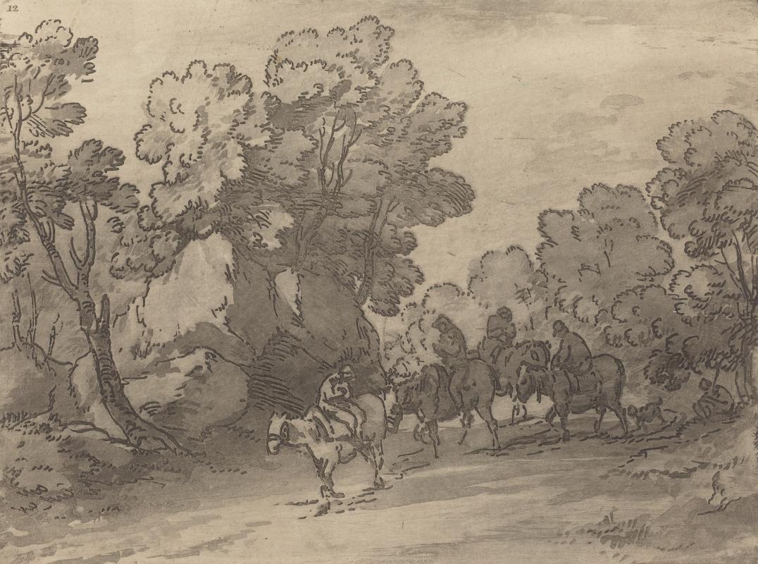 Томас Гейнсборо. Лесной пейзаж с путниками