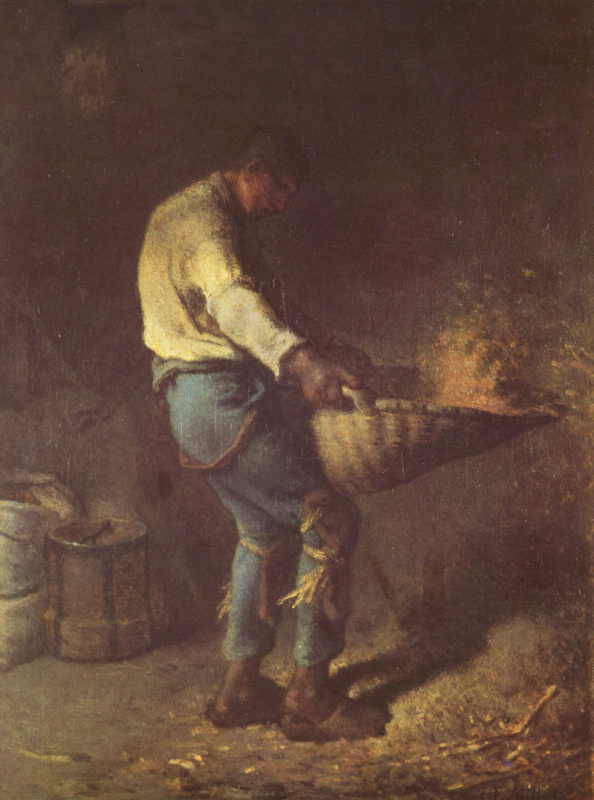 Мужчина, просеивающий зерно