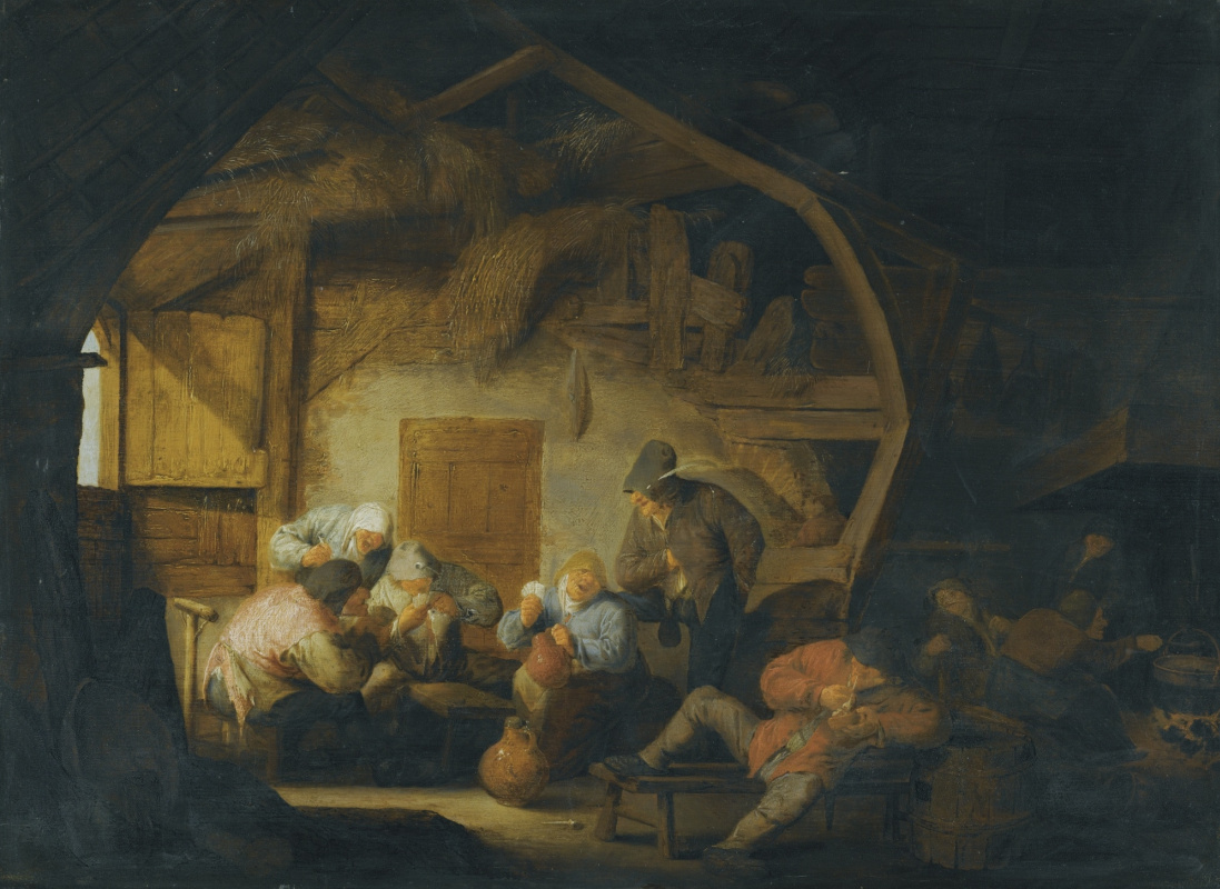 Adrian Jans van Ostade. Interior with drinking and playing cards the peasants