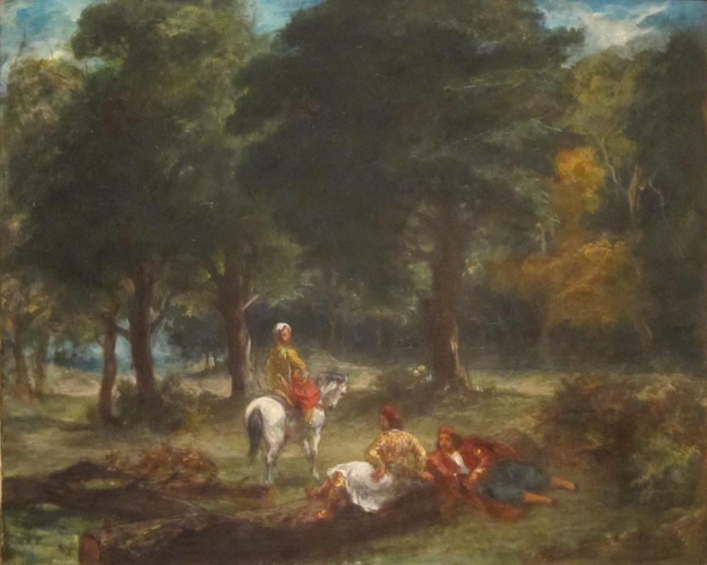Greek horsemen resting in the forest