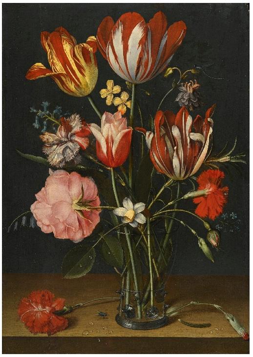 Якоб ван Хюльсдонк. Натюрморт из тюльпанов, гвоздик, роз и других цветов в стекляном стакане