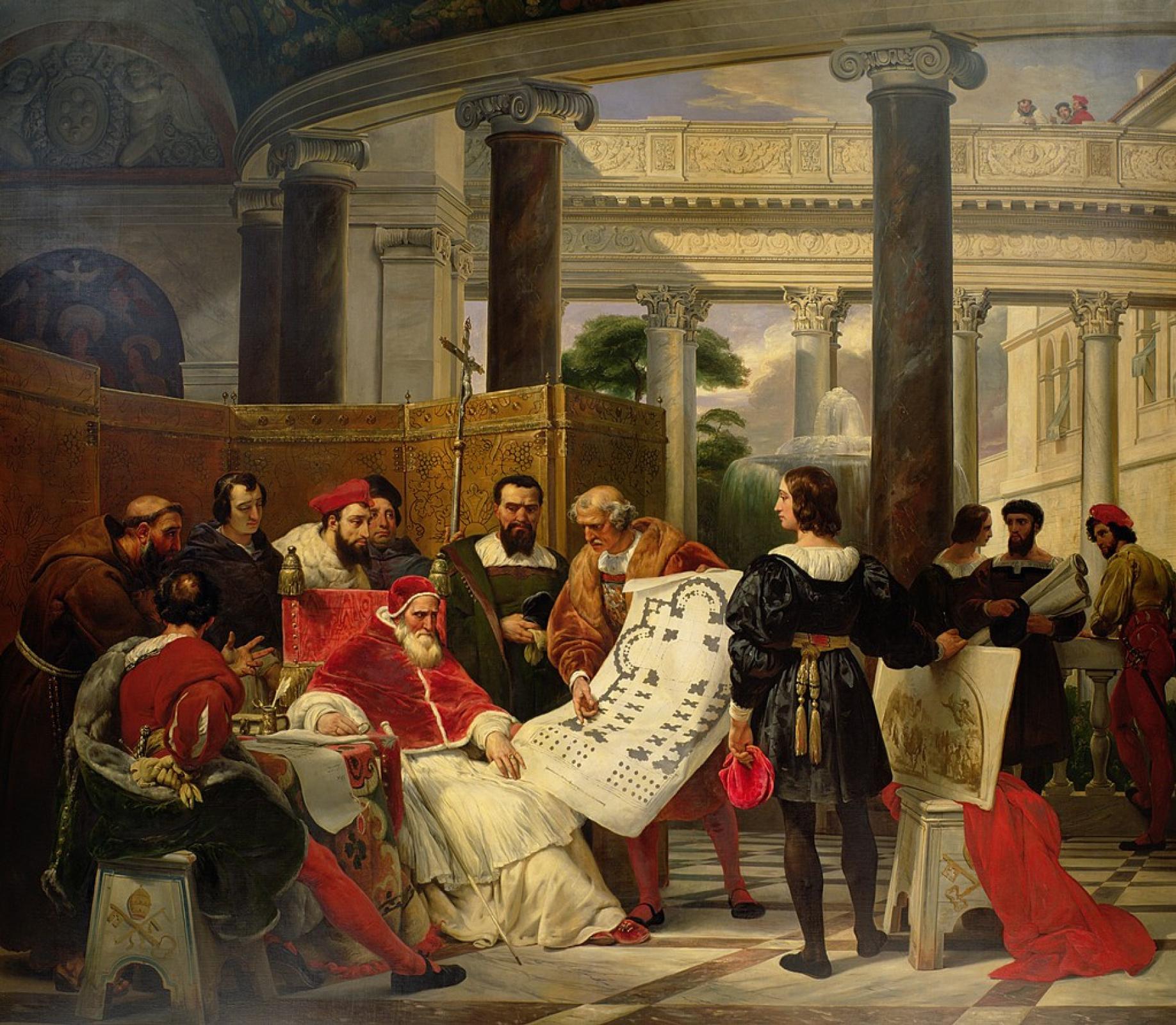 Эмиль Жан Орас Верне. Папа Юлий II обсуждает с Браманте, Микеланджело и Рафаэлем проект строительства базилики святого Петра