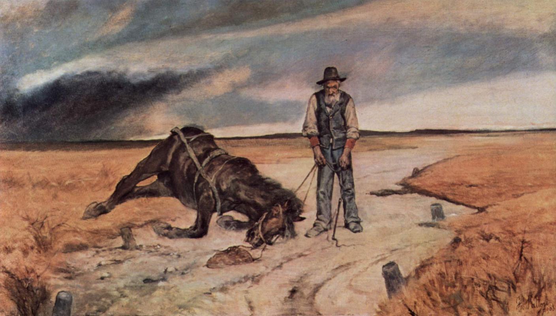 Giovanni Fattori. The farmer with the fallen horse