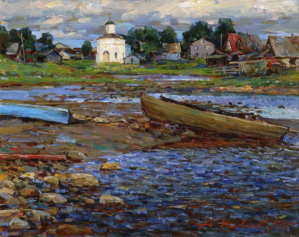 Alexander Shevelyov. Solovki.White night.Oil on canvas 40,5 X 50,5 cm 2011