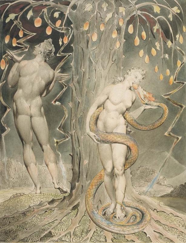 """Уильям Блейк. Искушение и падение Евы. Вихрь: видение Иезекииля херувимов и глаз. Иллюстрации к поэме Мильтона """"Потерянный рай"""""""