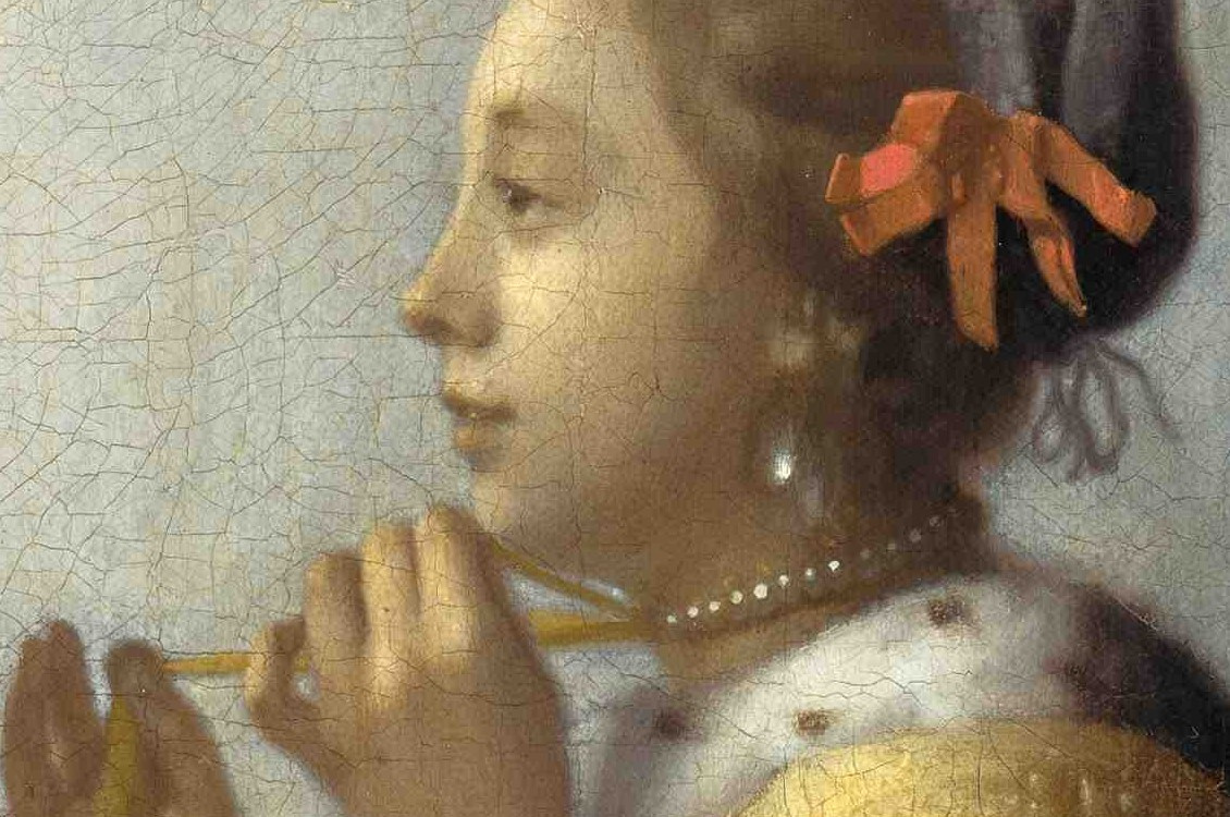 Jan Vermeer. Girl with a pearl necklace. Detail