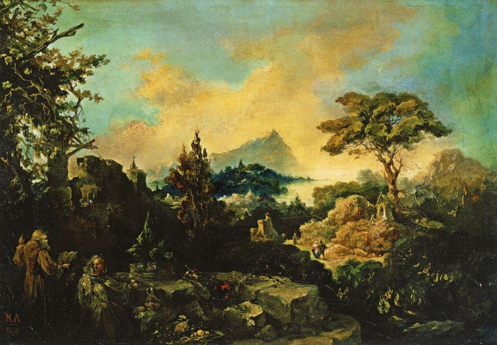 Николай Петрович Ломтев. Итальянский пейзаж с двумя отшельниками