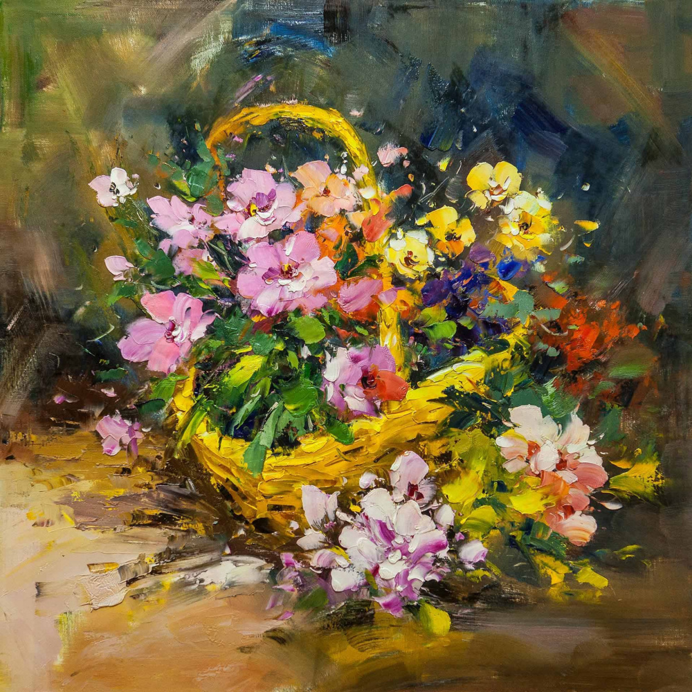 Maria Potapova. Flowers in a basket
