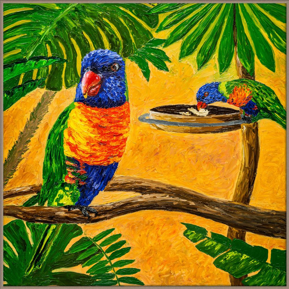 Arina Yuryevna Yastrebova. Bright parrots in the tropics