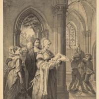 Леопольд Боде. Двенадцать рисунков по пьесе Фридриха Шиллера «Песнь о колоколе»: «Весёлый звон святого пира встречает милое дитя…»