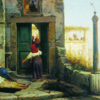 The patient at the walls of a Catholic monastery. 1874
