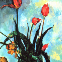 Поль Сезанн. Натюрморт с тюльпанами в вазе