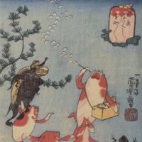 Утагава Куниёси. Японские сказки о рыбах: Золотая рыбка пускает мыльные пузыри